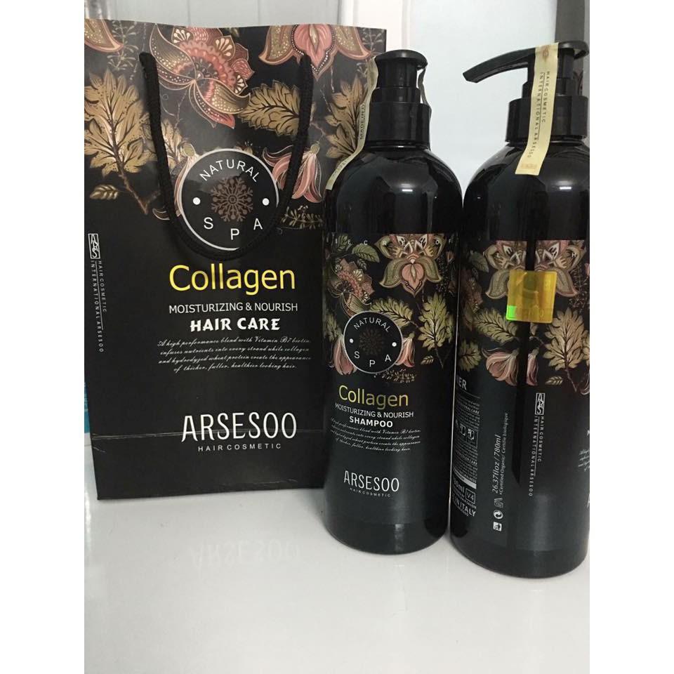 Xách tay -  Bộ Dầu Gội + Xả Collagen - Arsesoo Chuyên Phục Hồi Mọi Loại Tóc 780ml Kr authen