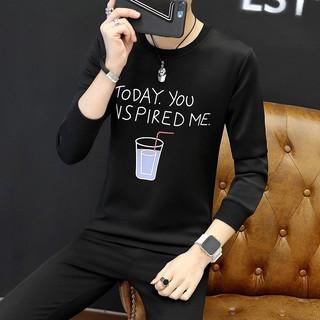 018 mùa đông mới của Hàn Quốc Slim cộng nhung dày quanh cổ áo thun áo len in nam