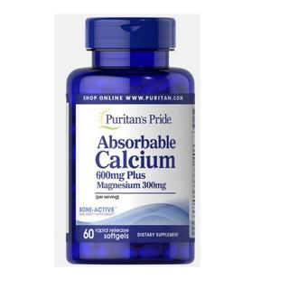 Viên uống canxi dễ hấp thu ngừa loãng xương không kích ứng dạ dày - Absorbable Calcium magnesium Puritan s Pride 60 viên