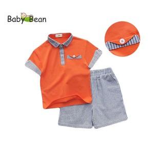 Bộ Đồ Thun Cotton Áo Cổ Bẻ Phối Quần Kẻ Sọc bé trai BabyBean
