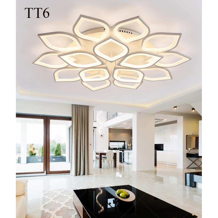 Đèn ốp trần đèn áp trần trang trí phòng khách phòng ngủ có kèm điều khiển từ xa phân tầng 3 chế độ sáng mẫu TT3 và TT6