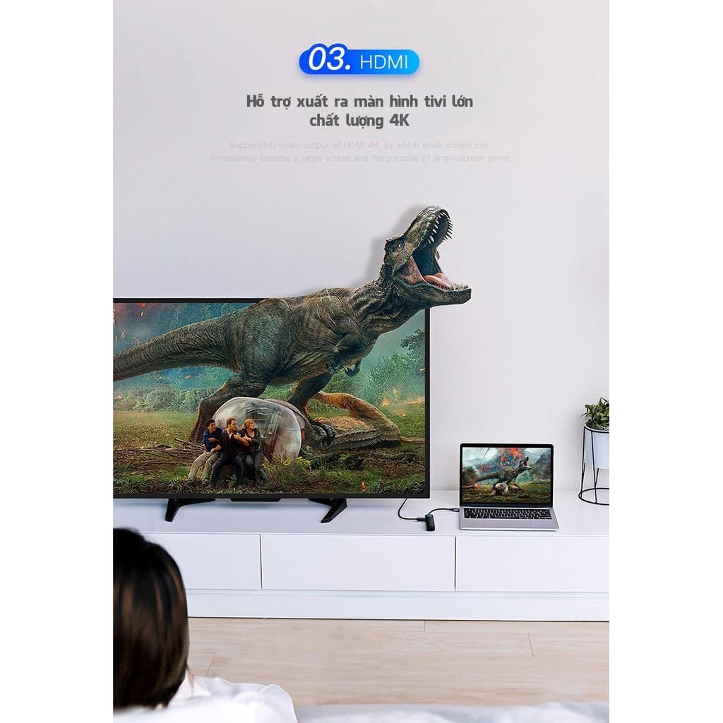 [Mã SKAMPUSHA7 giảm 8% đơn 250k]Cổng chuyển Baseus 4K HDMI Type-C 6in1