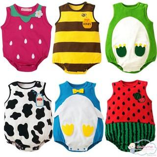 Bộ áo liền quần không tay phong cách hoạt hình cho bé 0-12 tháng