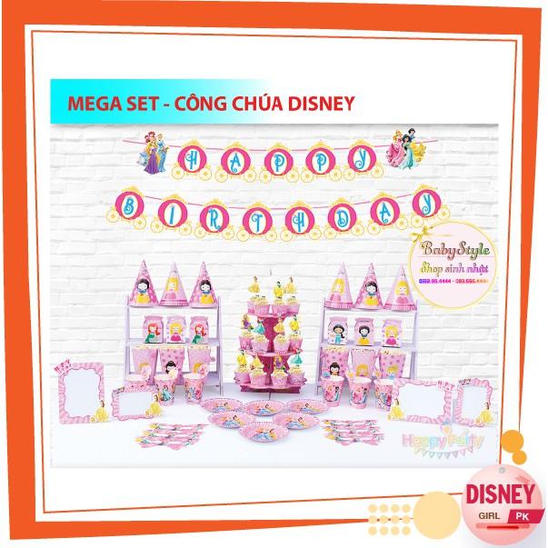 Bộ phụ kiện sinh nhật Công chúa Disney cho bé gái BABYSTYPE trang trí đầy tháng cho bé, mẫu mã đa dạng, màu sắc ấn tượng