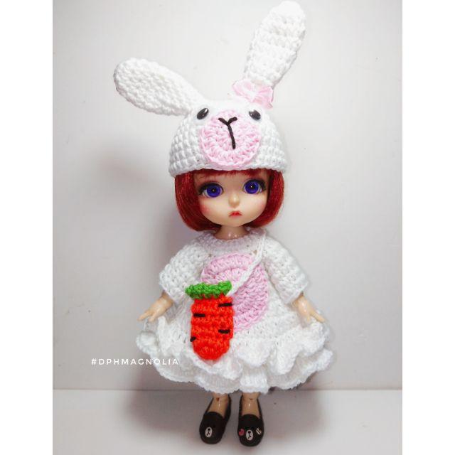 7228918649 - Set đầm thỏ trắng size búp bê BJD 1/8, Baboliy