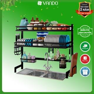 [FREESHIP 100%] Kệ chén bát 2 tầng trên bồn rửa bằng thép carbon không gỉ BẢN NÂNG CẤP VANDO