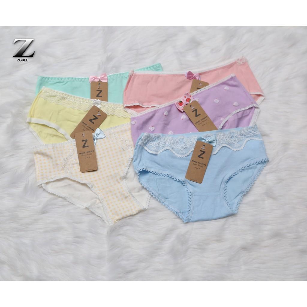 [Mã WA1211HOT giảm 12% đơn từ 99k] ZOBEE Hộp 6 quần lót nữ cotton gợi cảm