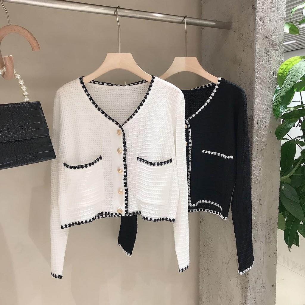 Áo Cardigan Dệt Kim Cổ Chữ V Lưng Cao Thời Trang Mùa Thu Cho Nữ