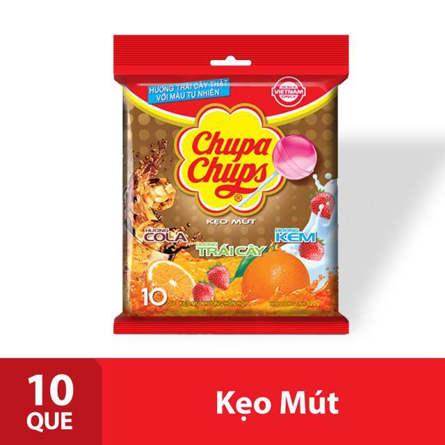 Kẹo mút Chupa Chups Tô Màu Hương Trái Cây Hỗn Hợp Tô Màu 10 Que
