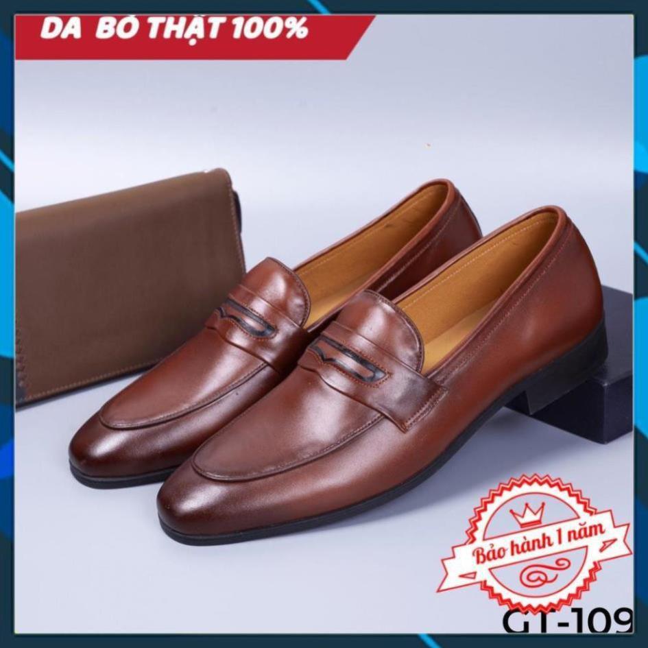 """Xả Mới - [FREESHIP - DA THẬT] -  Giày lười nam màu nâu da bò cao cấp - Giày tây công sở da thật - GT109 AL6 """" ' ' $ """" ˇ"""
