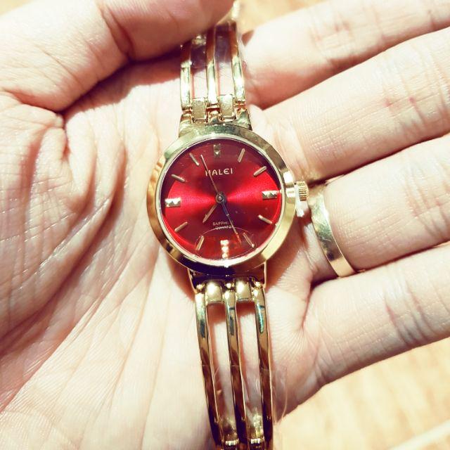 Đồng hồ nữ dây vàng mặt đỏ siêu đẹp thương hiệu halei Đồng hồ nữ dây vàng mặt đỏ siêu đẹp thương hiệu halei hot trend 2019