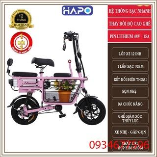 Xe Điện Mini Gấp Gọn, Xe Đạp Điện Giỏ To - 3 Ghế Ngồi - Pin Khủng Lithium 48v-15A Chạy êm thumbnail