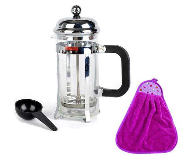 Bình pha trà và cà phê 350ml (Trắng) Tặng 1 khăn lau tay nhà bếp màu ngẫu nhiên