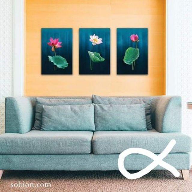 Tranh hoa sen 3 tấm
