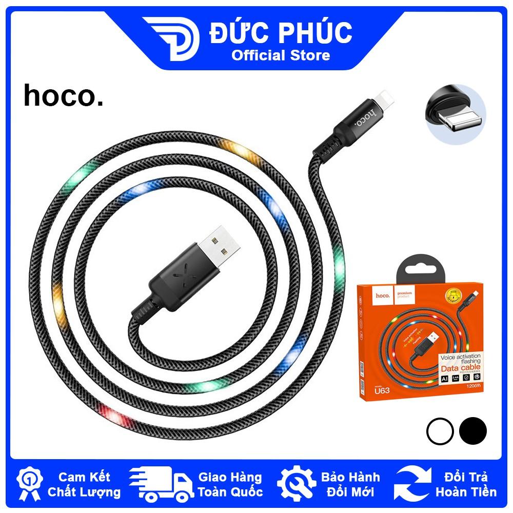 DÂY SẠC Hoco U63 cho iPhone iPad, kết nối Lightning, sạc nhanh 2.4A, có đèn  LED, dài 1m2 – Chính Hãng chính hãng 120,312đ