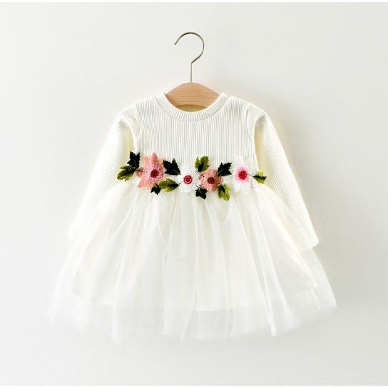 Váy Len Bé Gái Có Đính Hoa Bụng Siêu Xinh