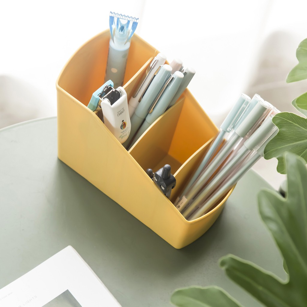 Kệ nhựa đựng bút viết, vật dụng 4 ngăn nhiều màu, Giá tháng 2/2021