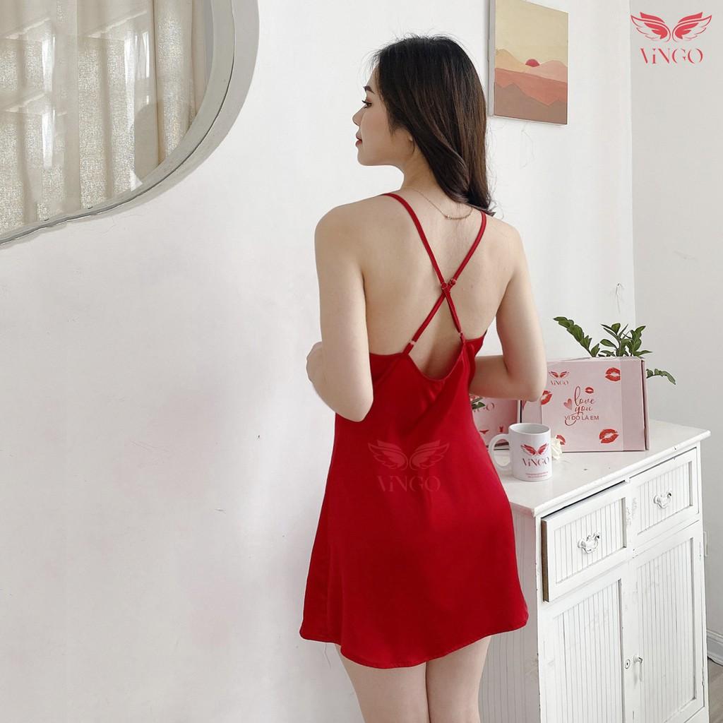 VNGO Váy ngủ lụa 2 dây chéo lưng dáng suông Vingo cao cấp nhiều màu gợi cảm quyến rũ N253