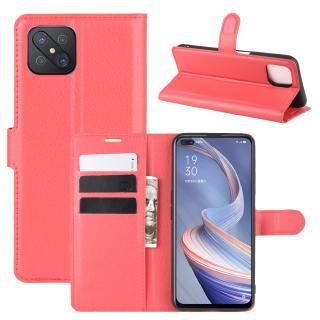 Bao da điện thoại nắp lật có ngăn đựng thẻ kiêm giá đỡ cho OPPO A92S A91 A72