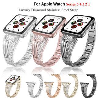 Dây Inox Đính Đá Cho Đồng Hồ Apple watch 40mm 44mm 38mm 42mm Iwatch series 6 SE 5 / 4 / 3 / 2 / 1