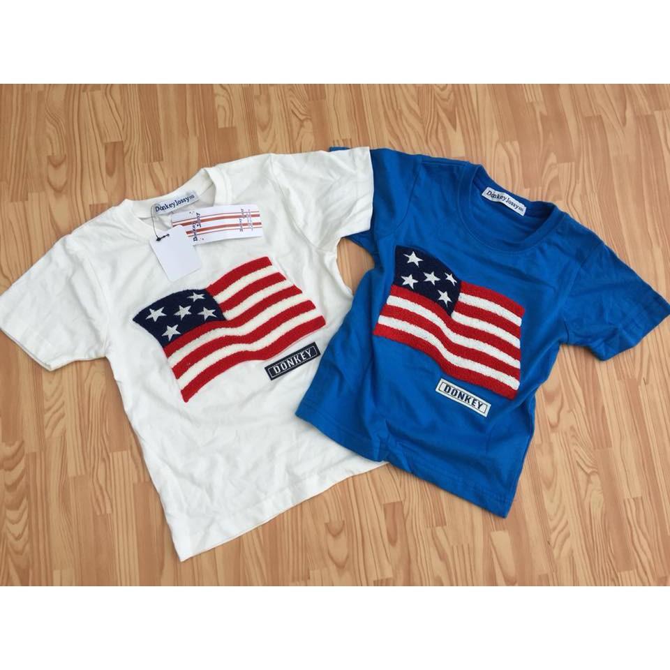 Áo thun bé trai thêu hình cờ Mỹ cực yêu