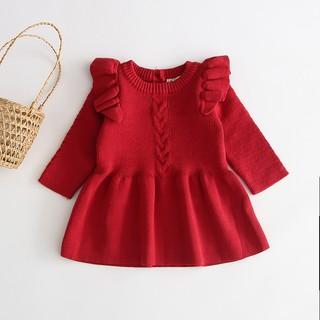 Váy Len Đỏ vặn thừng Sang Xịn Mịn Cực Dễ Thương Cho Bé Đón Tết, Váy Len Cho Bé