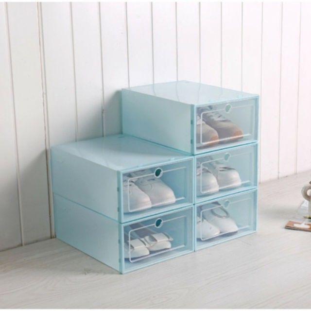 Hộp nhựa đựng giày cứng trong suốt (Size to, chọn màu), tủ đựng giày Teddy Bears (tặng túi chống ẩm cho mỗi hộp g