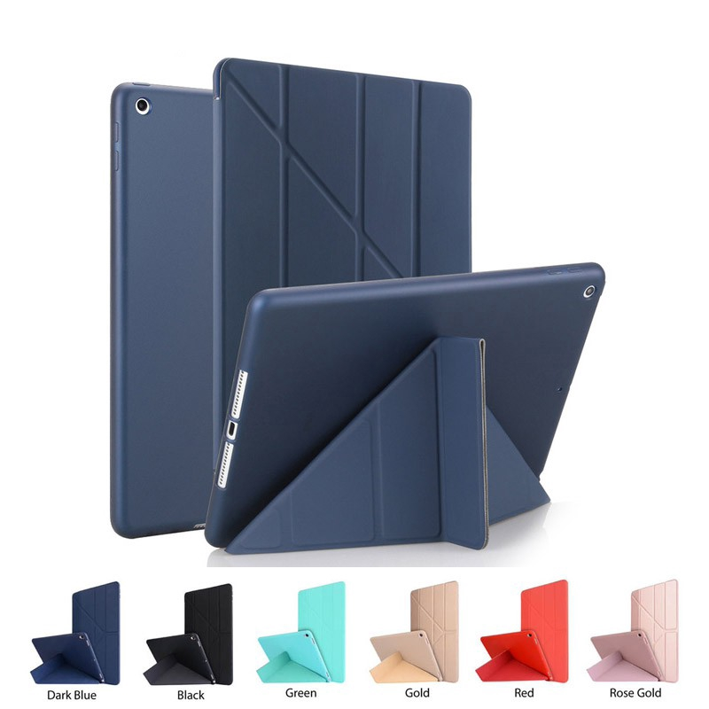 Flip Casing Case untuk Apple iPad Air Air 2 Cover Faux Leather Cover Soft Silicone Skin