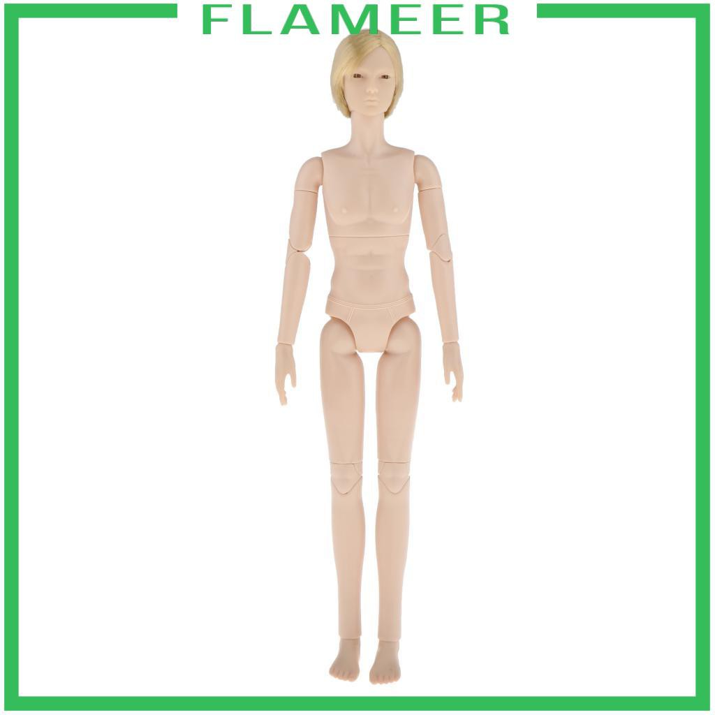[FLAMEER] BJD 24 Jointed Customized Doll Nude Body 3D Eyes Making Accessory White Skin