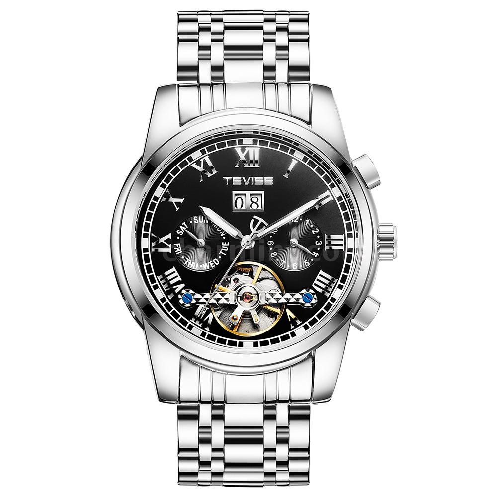 TEVISE 9005 High-quality Skeleton Automatic Men Mechanical Watch Moon Phase Stainless Steel Clock Me
