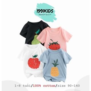 Áo thun bé gái áo cộc tay 27Home cho bé chất cotton in hình trái cây dễ thương