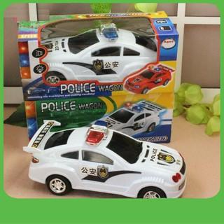[HÀNG MỚI] Đồ chơi xe đụng ô tô cảnh sát bánh xoay tự tránh chạy pin có nhạc có đèn