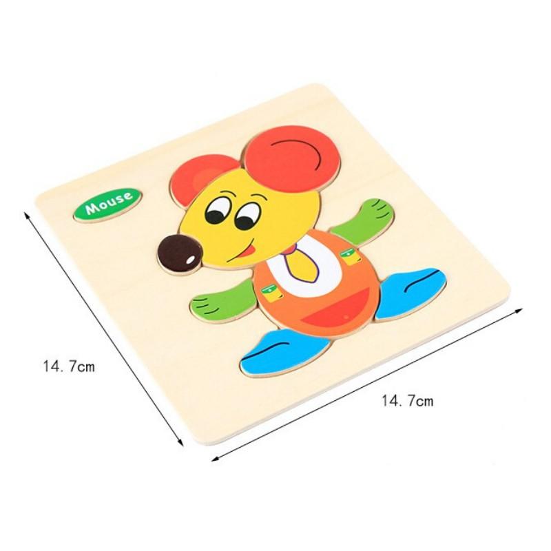 Combo Tranh ghép hình bằng gỗ 3D nổi cho bé vừa xếp hình vừa học tiếng anh
