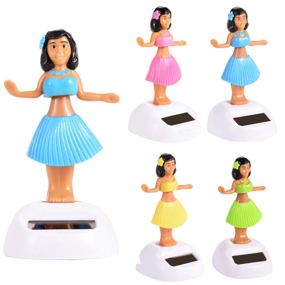 Fashion Solar Powered Dancing Hula Girl Swinging Bobble Car Decoration Toy Gift