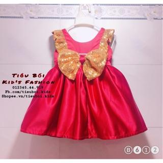 Đầm đỏ phối kim sa vàng