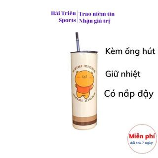 Bình nước giữ nhiệt bằng inox 304 có ống hút, Cốc uống nước có nắp đậy, kèm ống hút Hải Triều Sports