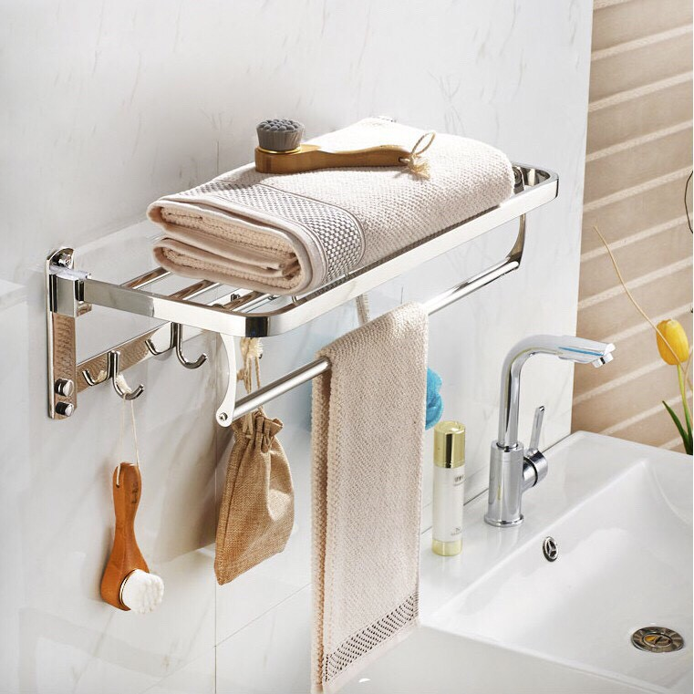 Máng khăn tầng inox có thể xếp được, tiện lợi, thu hẹp không gian nhà tắm, MK 09