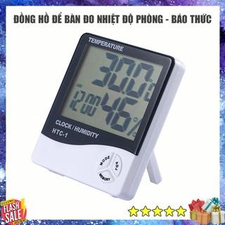 Đồng hồ để bàn đo nhiệt độ, độ ẩm phòng - Phiên bản nâng cấp hiện đại có báo thức