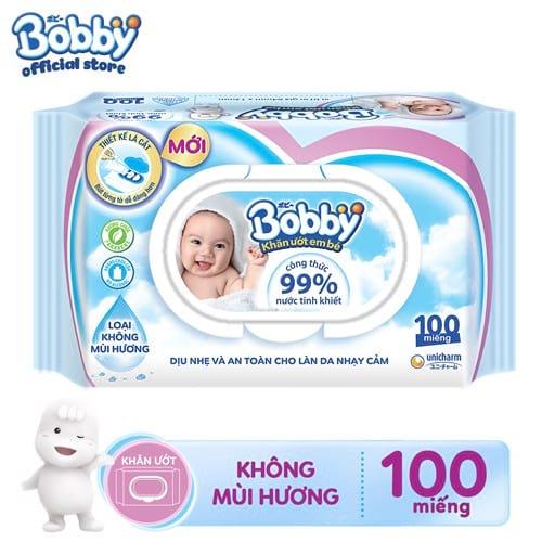 [TP.HCM] Khăn ướt Bobby không mùi 100 miếng (Xanh) _ 8934755035289