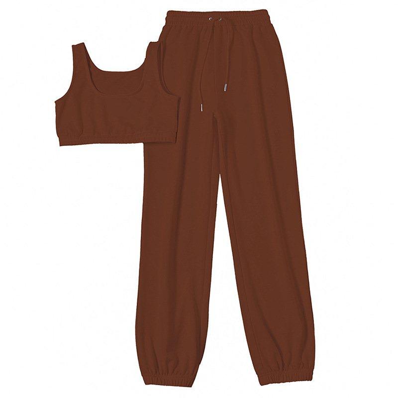 Mặc gì đẹp: Thoải mái với Set đồ thể thao gồm áo sát nách và quần rút dây lưng cao chất liệu cotton màu trơn thời trang cho nữ