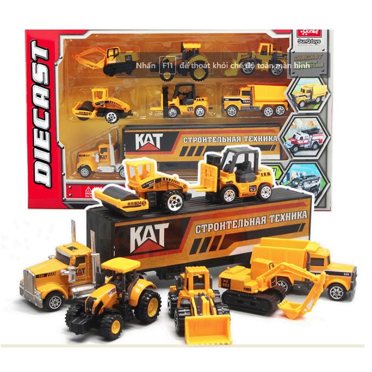 Bộ 6 xe mô hình công trình mini và xe tải Die cast đồ chơi trẻ em