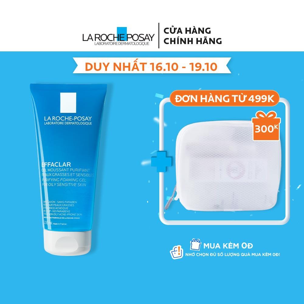 Gel rửa mặt tạo bọt làm sạch da dành cho da dầu nhạy cảm La Roche-Posay Effaclar Purifying Foaming Gel 200ml