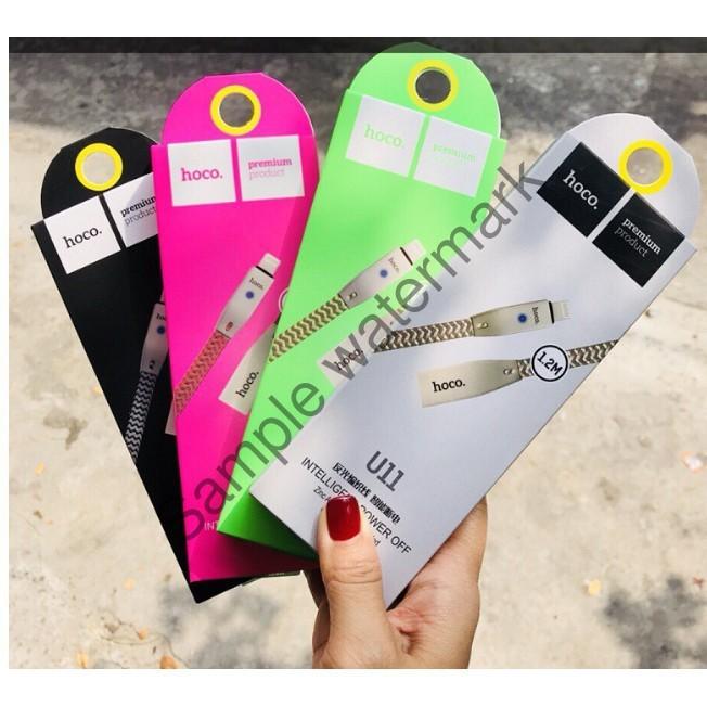 Cáp Sạc nhanh tự ngắt cho Iphone Ipad chống rối đứt chính hãng Hoco U11 1,2M có đèn led BH 3 tháng - NAM TỪ LIÊM