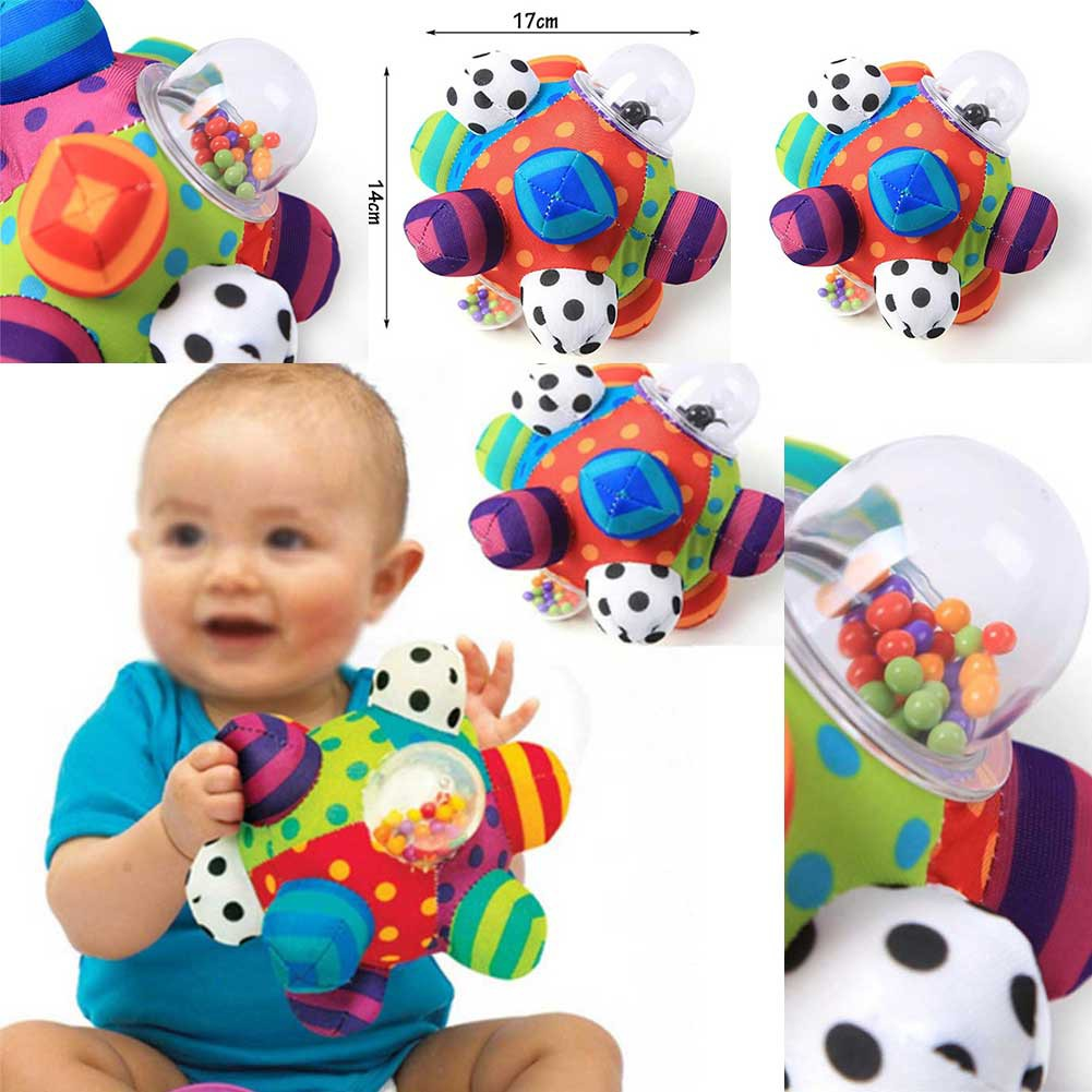 Baby Hand Rattle Bell with Soft Cloth Tactile Sensory Stereo Rattle Cloth Ball Toy for 0-1 Years Old Baby