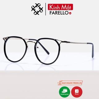 Gọng kính cận nữ FARELLO kim loại, mắt tròn, thời trang hàn quốc - 2272