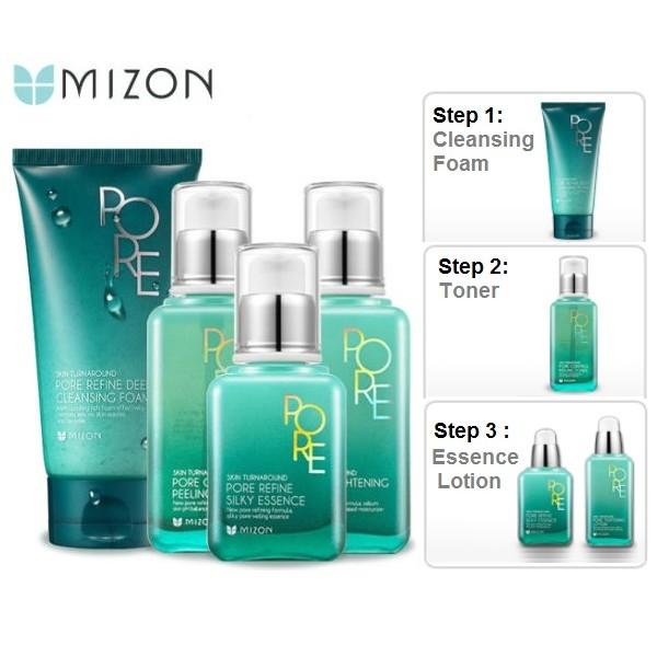 Bộ set 3 sp Chăm sóc da dầu, giúp se khít lộ chân lông Mizon Pore SRM, Toner và Lotion