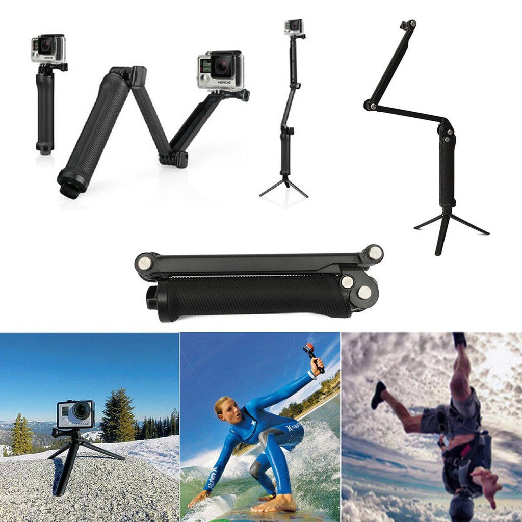 ant rod Hero4/3+ three-way fixed bracket three-fold self-timer lever folding arm