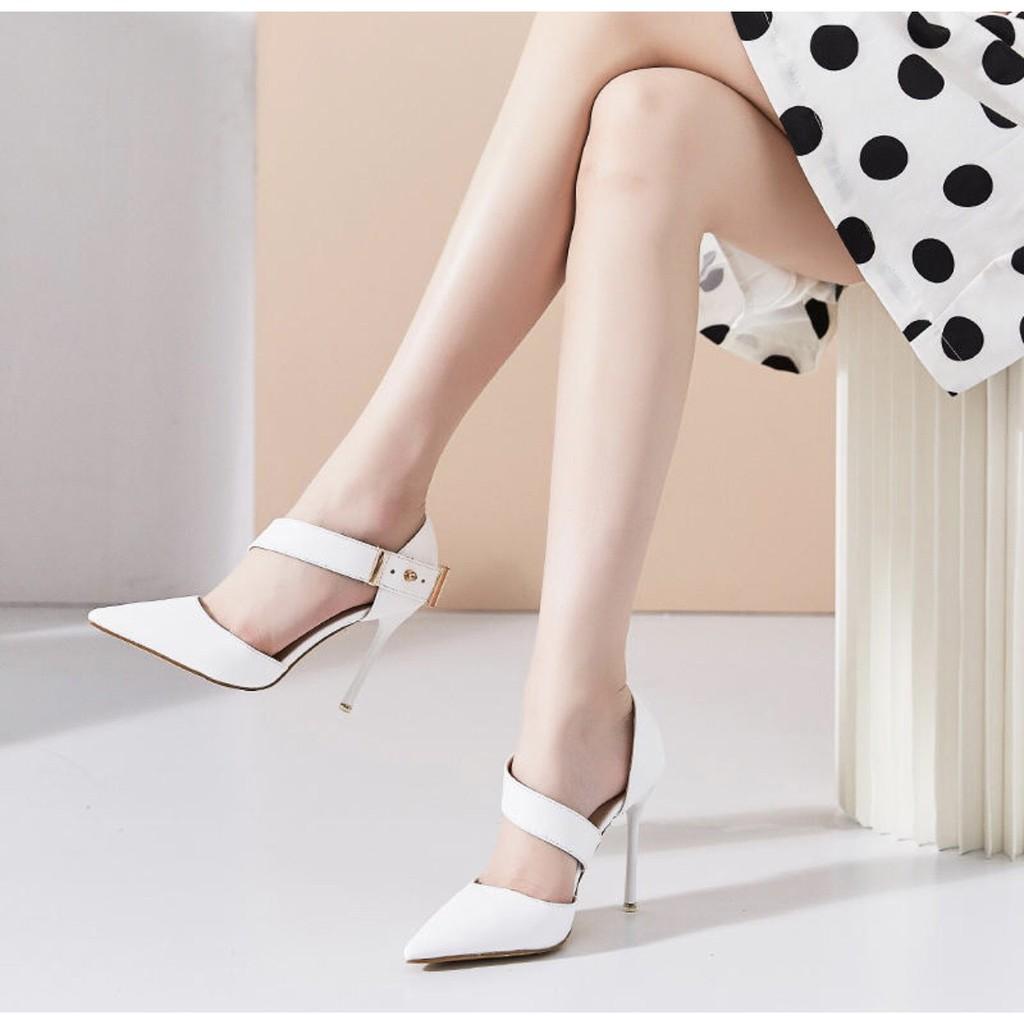 Giày Cao Gót Quai chéo bít hậu C38 phong cách Châu Âu VIETLAVANI