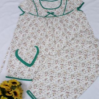 Bộ lửng bầu vải kate thô hoa và chấm bi mềm mặc mát thumbnail