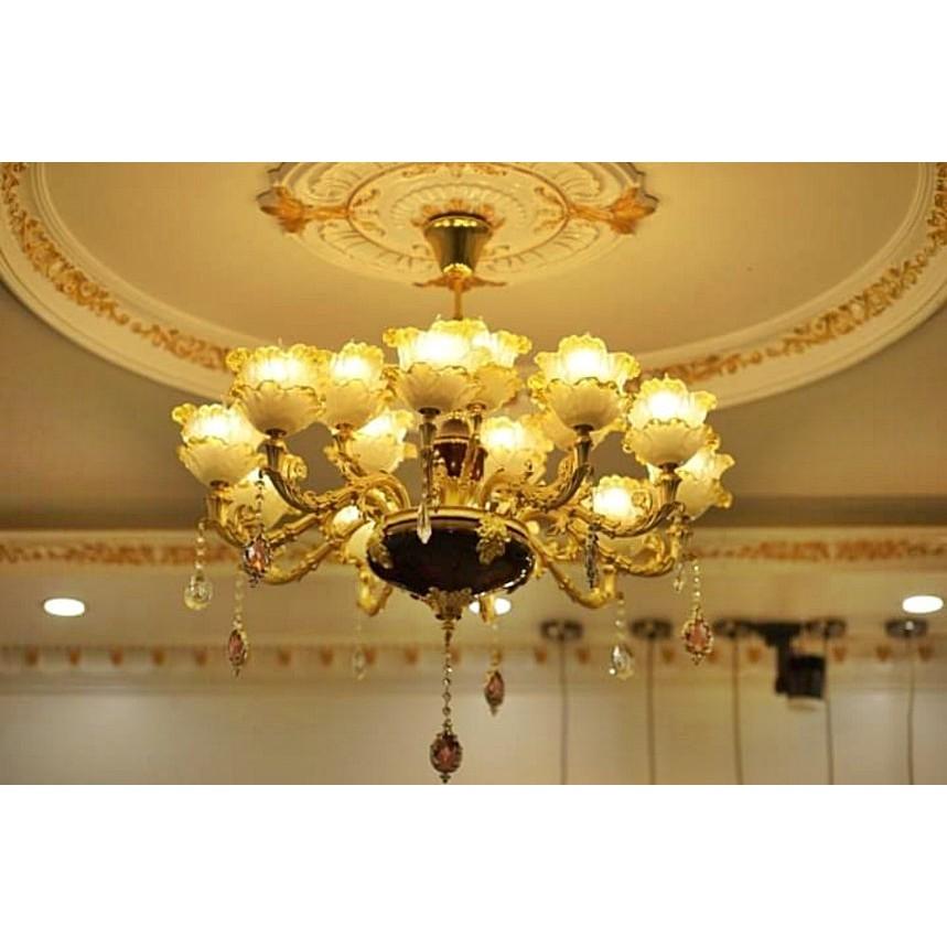 Đèn chùm trang trí phòng khách J5-15 bóng Cao Cấp - Chất Liệu Hợp Kim Nhôm Và Pha Lê_tặng kèm 15 bóng đèn led cao cấp